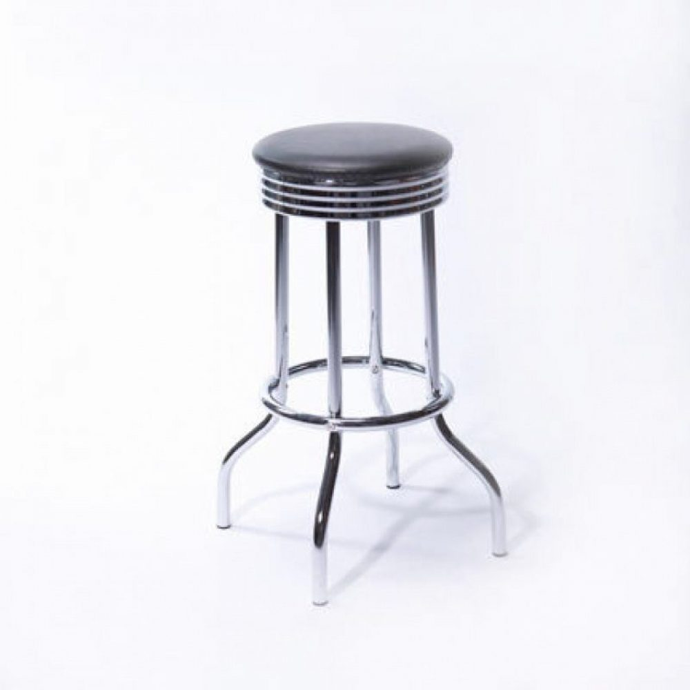 Black Leather and Chrome Bar Stool