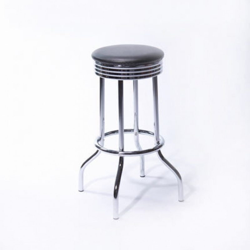 Black Leather And Chrome Bar Stool Rc Special Events