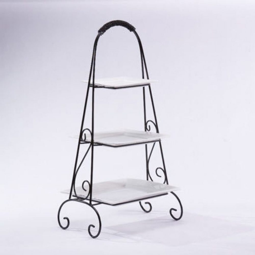 Black Metal Triple Tiered Plate Stand