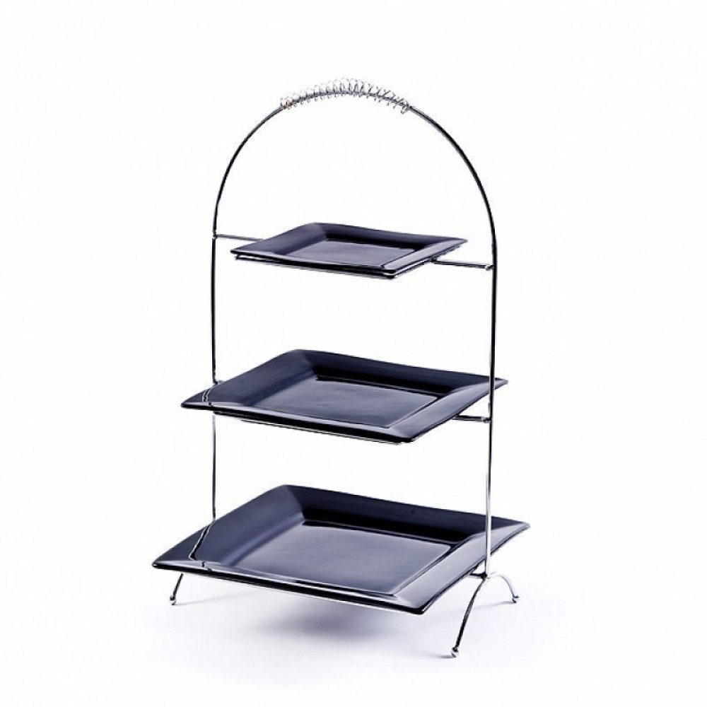 Chrome Triple Tiered Plate Stand