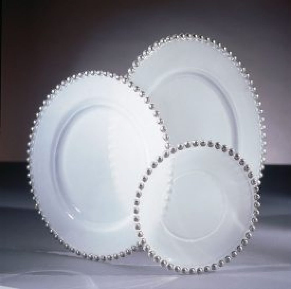 Silver Bead Frosted Glass Charger