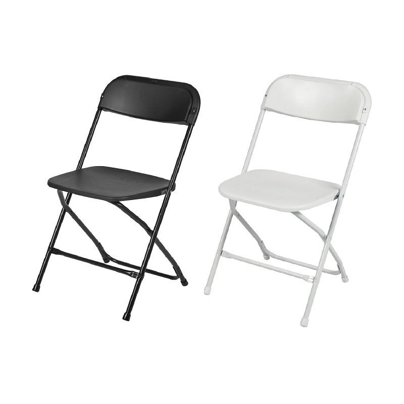 Black and White Plastic Folding Chairs