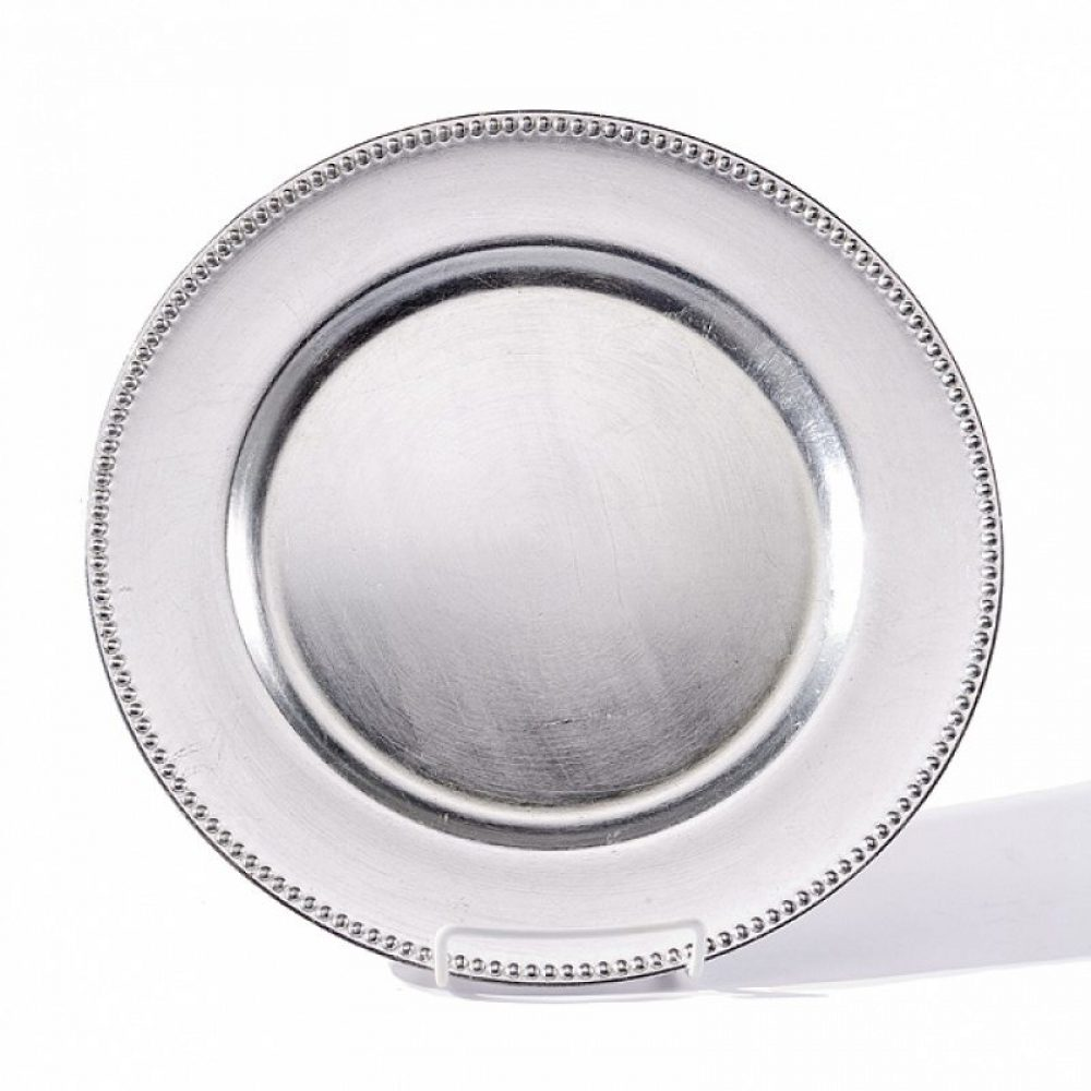 Round Silver Acrylic Charger