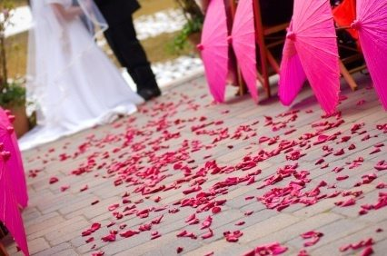 Wedding Ceremony with Flower Petals