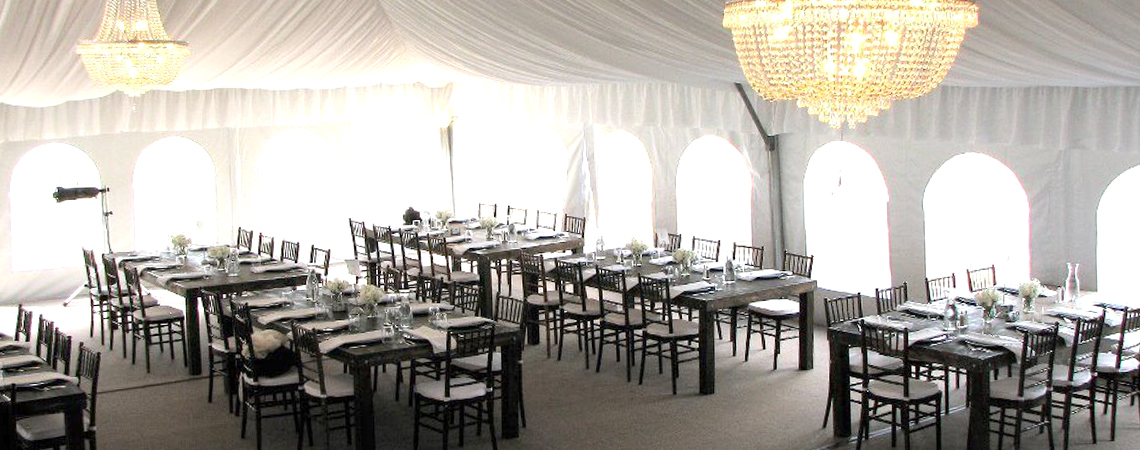 Decorating wedding tent