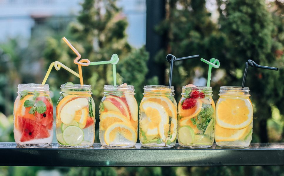 Summer drinks in jars