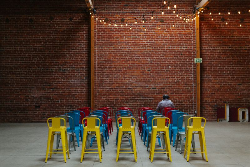 Colorful chairs arranged for party