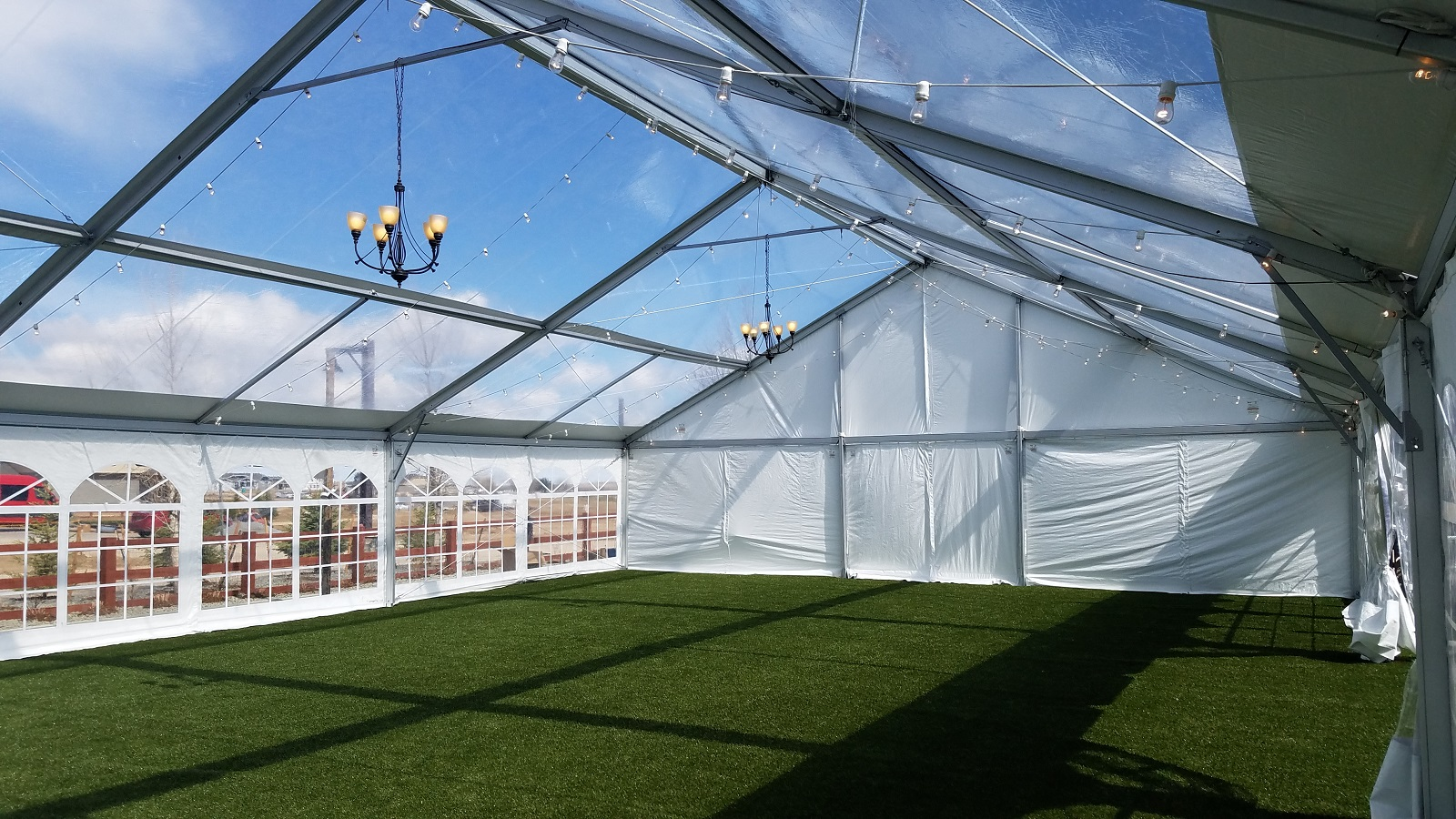 Inside Clear Top Tent with Astroturf